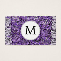 Personalized Monogram stylized purple zebra print Business Card