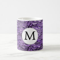 Personalized Monogram stylized purple zebra print Coffee Mug