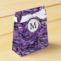 Personalized Monogram stylized purple zebra print Favor Box