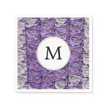Personalized Monogram stylized purple zebra print Napkin