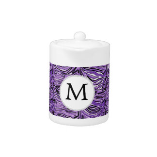 Personalized Monogram stylized purple zebra print Teapot