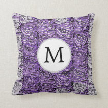 Personalized Monogram stylized purple zebra print Throw Pillow