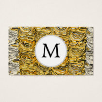 Personalized Monogram stylized yellow zebra print Business Card