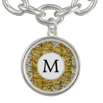 Personalized Monogram stylized yellow zebra print Charm Bracelet