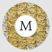 Personalized Monogram stylized yellow zebra print Classic Round Sticker