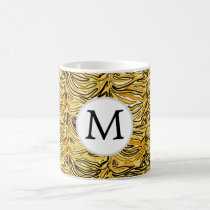 Personalized Monogram stylized yellow zebra print Coffee Mug