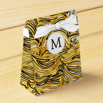 Personalized Monogram stylized yellow zebra print Favor Box