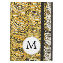Personalized Monogram stylized yellow zebra print iPad Air Cover