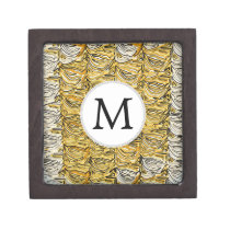 Personalized Monogram stylized yellow zebra print Jewelry Box