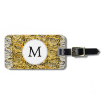 Personalized Monogram stylized yellow zebra print Luggage Tag