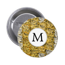Personalized Monogram stylized yellow zebra print Pinback Button