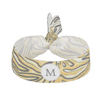 Personalized Monogram stylized yellow zebra print Ribbon Hair Tie