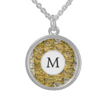 Personalized Monogram stylized yellow zebra print Sterling Silver Necklace