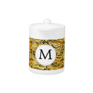 Personalized Monogram stylized yellow zebra print Teapot