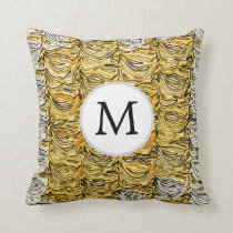 Personalized Monogram stylized yellow zebra print Throw Pillow