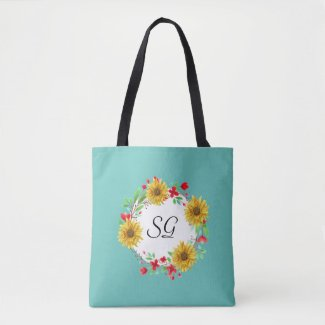 Personalized Monogram Sunflower Shopping Tote Bag