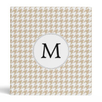 Personalized Monogram Tan houndstooth Pattern 3 Ring Binder