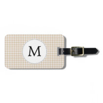 Personalized Monogram Tan houndstooth Pattern Bag Tag