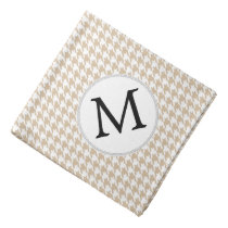Personalized Monogram Tan houndstooth Pattern Bandana
