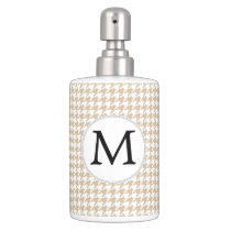 Personalized Monogram Tan houndstooth Pattern Bathroom Set