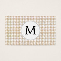 Personalized Monogram Tan houndstooth Pattern Business Card