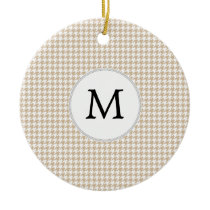 Personalized Monogram Tan houndstooth Pattern Ceramic Ornament
