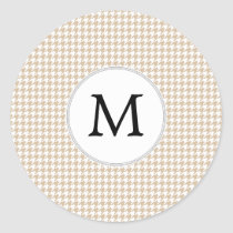 Personalized Monogram Tan houndstooth Pattern Classic Round Sticker