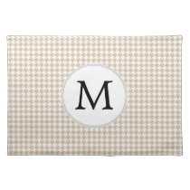 Personalized Monogram Tan houndstooth Pattern Cloth Placemat