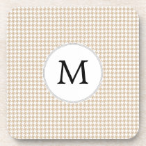 Personalized Monogram Tan houndstooth Pattern Coaster