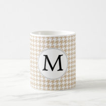 Personalized Monogram Tan houndstooth Pattern Coffee Mug