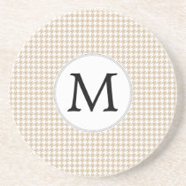 Personalized Monogram Tan houndstooth Pattern Drink Coaster