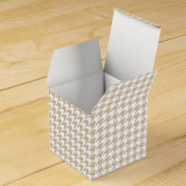 Personalized Monogram Tan houndstooth Pattern Favor Box