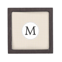 Personalized Monogram Tan houndstooth Pattern Gift Box