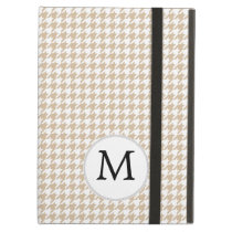 Personalized Monogram Tan houndstooth Pattern iPad Air Cover