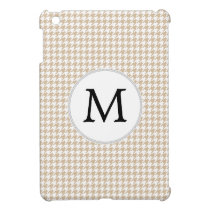 Personalized Monogram Tan houndstooth Pattern iPad Mini Cover