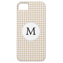 Personalized Monogram Tan houndstooth Pattern iPhone SE/5/5s Case
