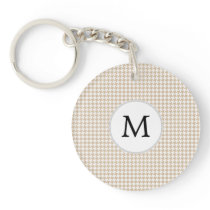 Personalized Monogram Tan houndstooth Pattern Keychain