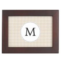 Personalized Monogram Tan houndstooth Pattern Memory Box