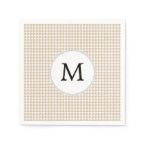 Personalized Monogram Tan houndstooth Pattern Napkin