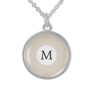 Personalized Monogram Tan houndstooth Pattern Necklace