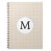 Personalized Monogram Tan houndstooth Pattern Notebook
