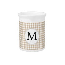 Personalized Monogram Tan houndstooth Pattern Pitcher