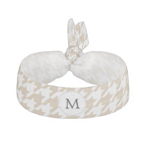 Personalized Monogram Tan houndstooth Pattern Ribbon Hair Tie
