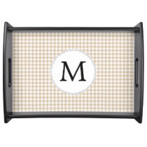 Personalized Monogram Tan houndstooth Pattern Serving Tray