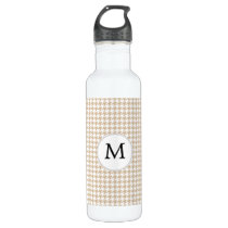 Personalized Monogram Tan houndstooth Pattern Stainless Steel Water Bottle