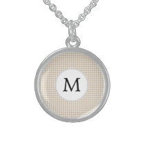 Personalized Monogram Tan houndstooth Pattern Sterling Silver Necklace