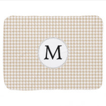 Personalized Monogram Tan houndstooth Pattern Stroller Blanket