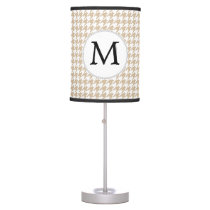 Personalized Monogram Tan houndstooth Pattern Table Lamp