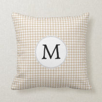 Personalized Monogram Tan houndstooth Pattern Throw Pillow