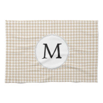 Personalized Monogram Tan houndstooth Pattern Towel